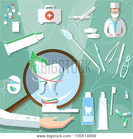 Medical Stomatology Dental Design Concept Treatment Teeth Healthcare Elements