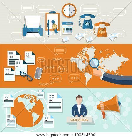 World News Hand Of Journalist Telecommunications News Studio Global Business Vector Headers Banners