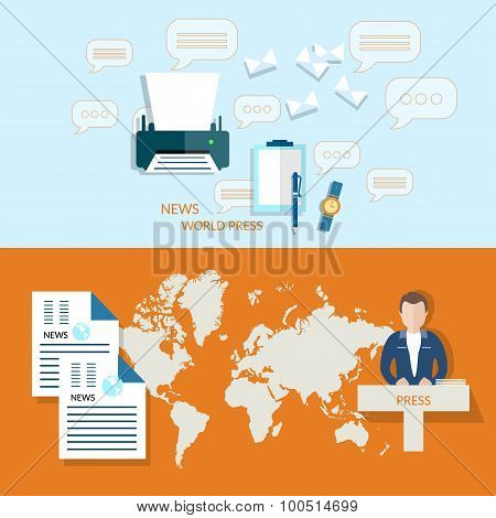 Global News Business World Press Documents Financial Analyst Reporting News Studio Vector Headers