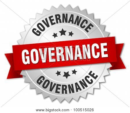 Governance 3D Silver Badge With Red Ribbon