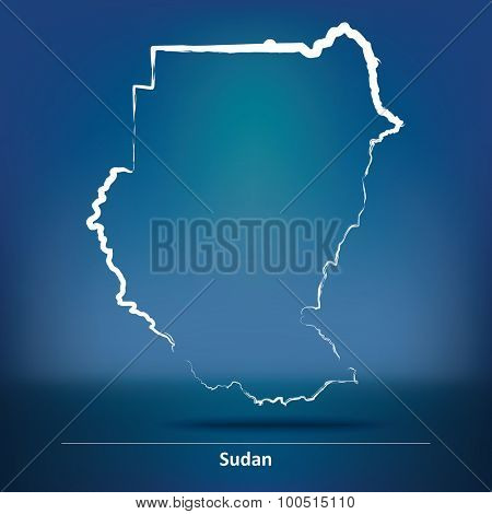 Doodle Map of Sudan - vector illustration