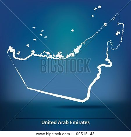 Doodle Map of United Arab Emirates - vector illustration