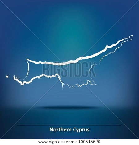 Doodle Map of Northern Cyprus - vector illustration