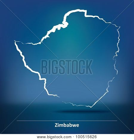 Doodle Map of Zimbabwe - vector illustration