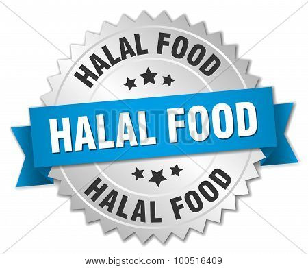 Halal Food 3D Silver Badge With Blue Ribbon