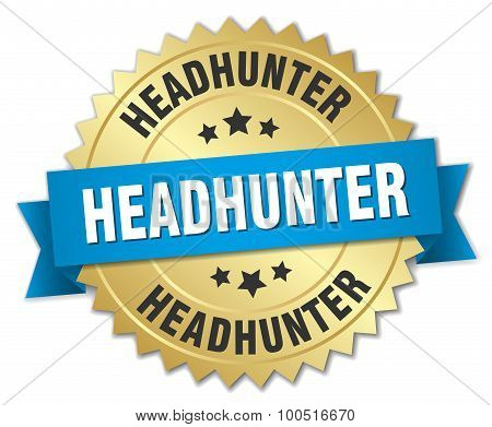 Headhunter 3D Gold Badge With Blue Ribbon