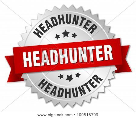 Headhunter 3D Silver Badge With Red Ribbon