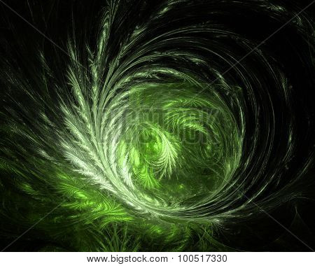 Abstract Fractal Design. Green On Black.