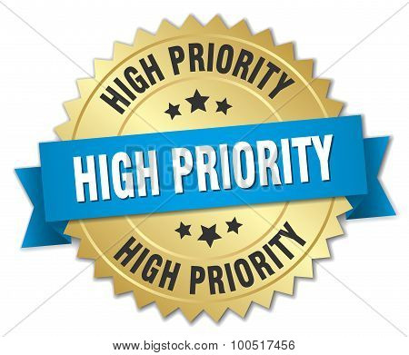 High Priority 3D Gold Badge With Blue Ribbon