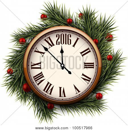 Old clock with roman numbers. Happy 2016 year. Vector illustration.