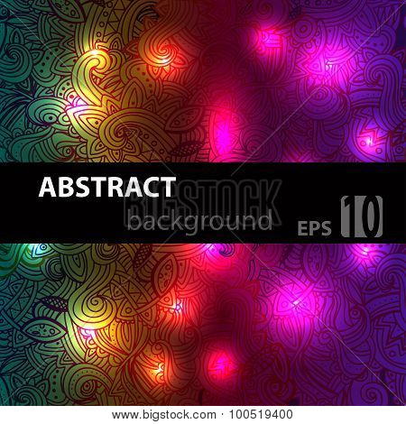 Abstract disco glowing doodle of background. Vector illustration