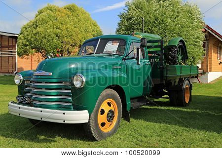 Nostalgic Chevrolet 6400 Pickup Truck And Classic Tractor