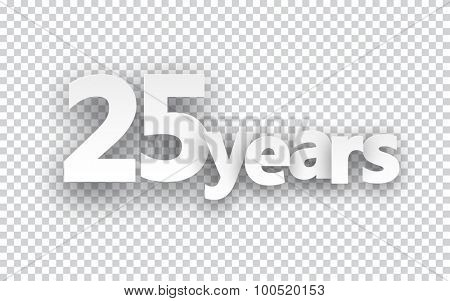 Twenty five years paper sign over cells. Vector illustration.