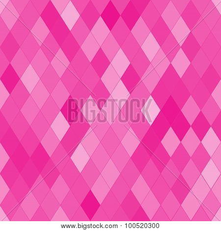 Vector Seamless Pattern With Rhombs. Abstract Bright Pink Texture. Geometrical Background.
