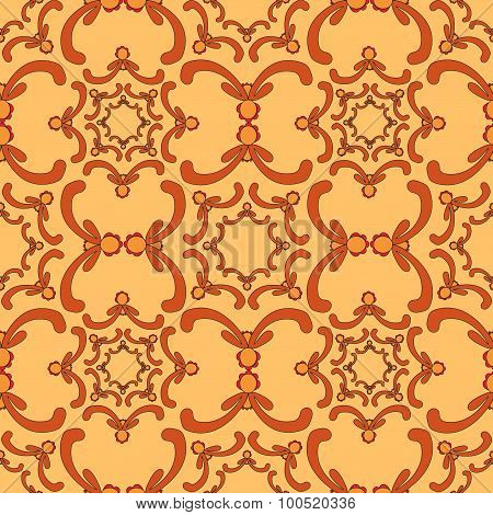 Ornamental Seamless Pattern. Vintage Template. Curve Elements. Orange Background. Filigree Texture.