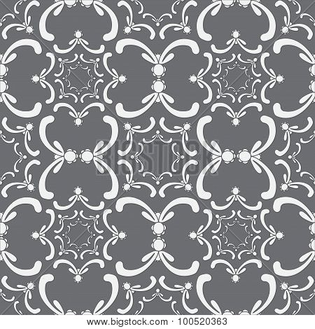 Ornamental Seamless Pattern. Vintage Template. Curve White Elements On The Gray Background.