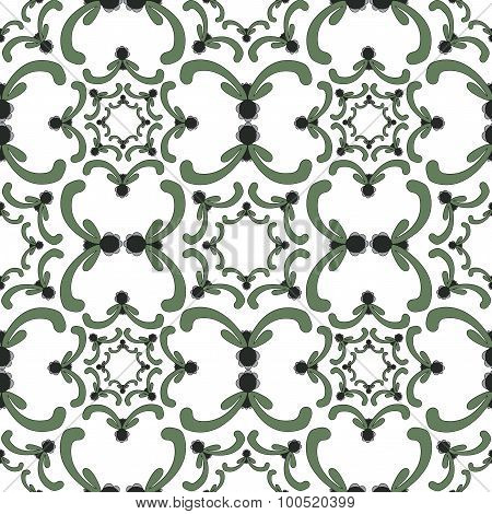 Ornamental Seamless Pattern. Vintage Template. Green Curve Elements On The White Background.