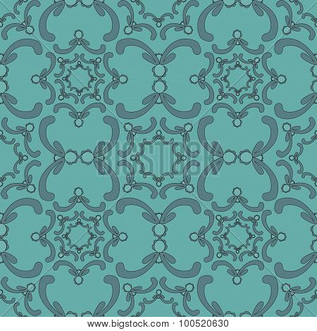 Ornamental Seamless Pattern. Vintage Template. Blue Background With Yellow Curve Elements.