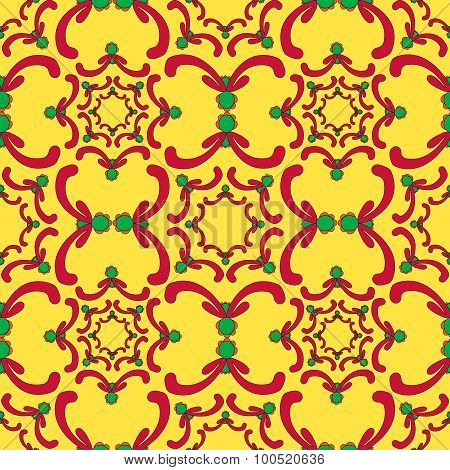 Ornamental Seamless Pattern. Red And Green Curve Elements On The Yellow Background. Vintage Template