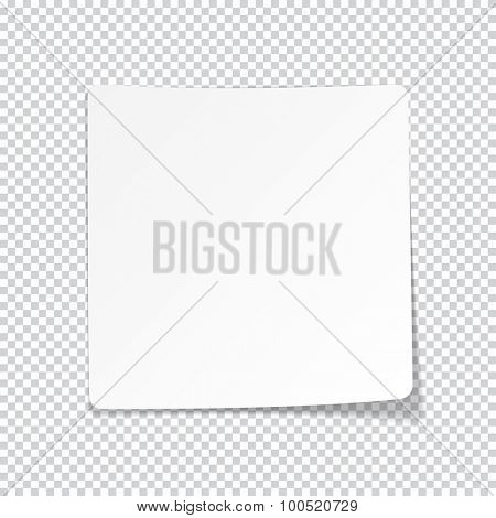 Vector illustration of white paper sheet with shadow. Eps10.