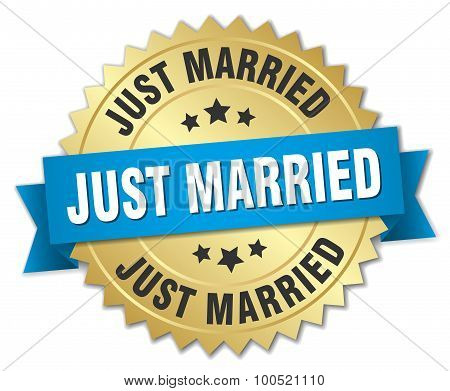Just Married 3D Gold Badge With Blue Ribbon