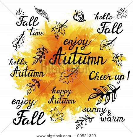 Set Of Hand-drawn Autumn Slogans And Doodle Leaves