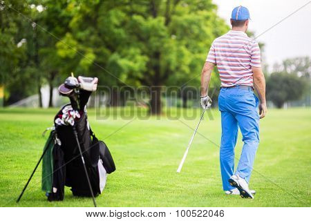 Golfer Practicing And Concentrating Before And After Shot