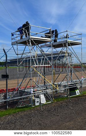 Outside broadcasting crew at Silverstone circuit.