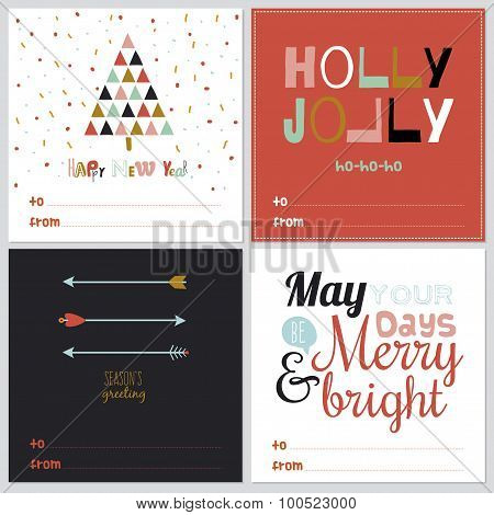 Square Christmas and New Year greeting cards
