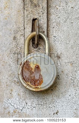 Close View Of Old Rusty Padlock