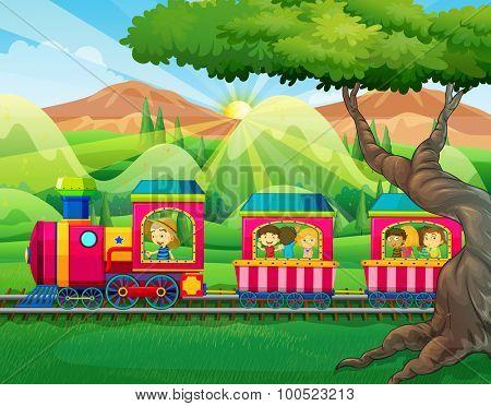 Children riding on the train illustration