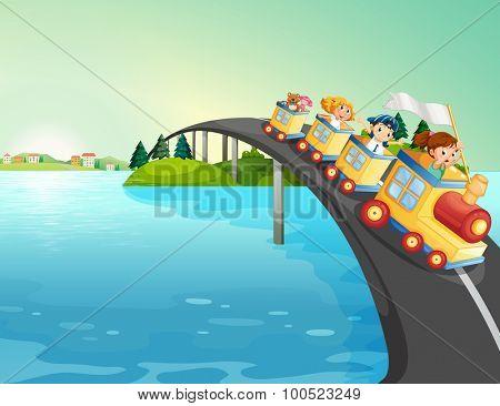 Children riding train over the bridge illustration