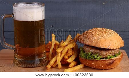 Beer Burger And Chips