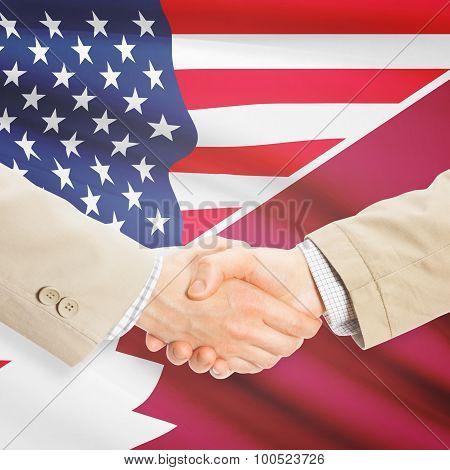 Businessmen Handshake - United States And Qatar
