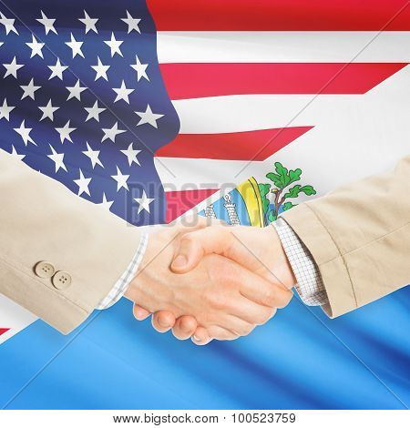 Businessmen Handshake - United States And San Marino