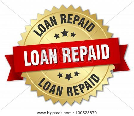 Loan Repaid 3D Gold Badge With Red Ribbon