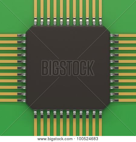 Microchip unit on green plate.