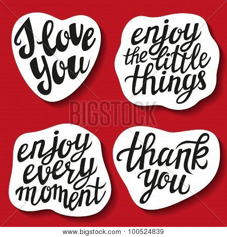 Set Of Hand Lettering Stickers With Popular Quotes