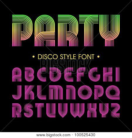 Disco party style font