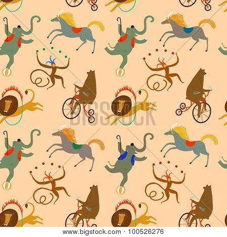 Circus Animals Cartoon Background
