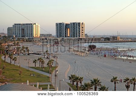 Sand Beach And Modern Hotels In Herzliya Pituah, Israel.