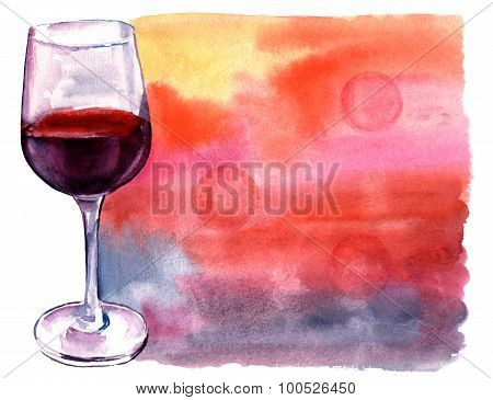 A watercolor drawing of a glass of red wine with a bright banner with a place for text