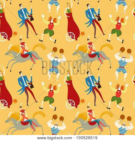 Circus Artists Cartoon Seamless Pattern