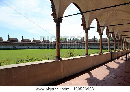 Magnificent Artistic  Cloister Of Monks In The Abbey Called Certosa Di Pavia In Italy