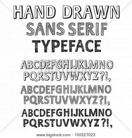 Hand Drawn Vector Fonts Set