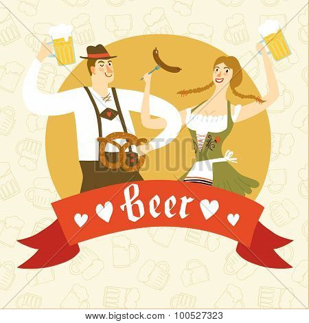 Cartoon Bavarian Pair With Beer And Pretzel