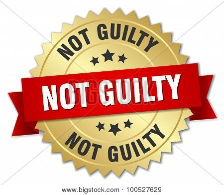 Not Guilty 3D Gold Badge With Red Ribbon