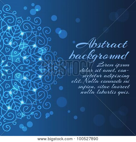 Abstract Blue Background With Mandala Ornament