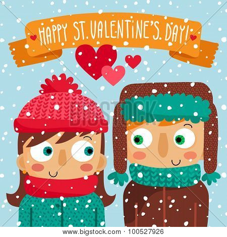 Happy Valentine's Day Greeting Card With Couple