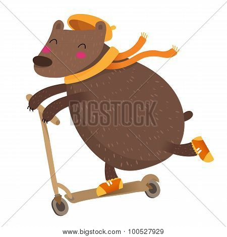 Cute Bear Riding A Scooter, Isolated On White